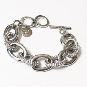 Chico's • Silver & Pave Crystal Link Bracelet